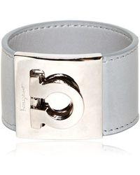 Ferragamo Gancini Leather Cuff Bracelet - Lyst