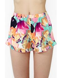 Nasty Gal Flower Frill Shorts - Lyst
