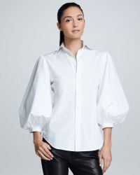 Ralph Lauren Black Label - Womens Aston Puffsleeve Cotton Poplin Blouse White - Lyst