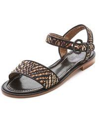 Studio Pollini - Woven Raffia Flat Sandals - Lyst