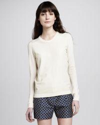 Theory Yulia Leatherfront Sweater - Lyst