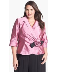 Alex Evenings Rosette Wrap Blouse - Lyst