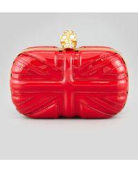 Alexander McQueen Britannia Skullclasp Clutch Bag Red - Lyst
