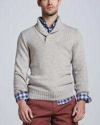 Brunello Cucinelli Chunky Shawlcollar Sweater - Lyst