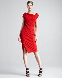 Donna Karan New York Structured Matte Jersey Cap Sleeve Dress - Lyst