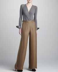 Donna Karan New York Wide Leg Tissue Crepe Trousers Shadow Dust - Lyst
