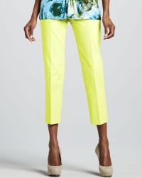 Lafayette 148 New York Bleecker Cropped Pants Lemon Drop - Lyst