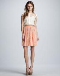 Nha Khanh - Dottedoverlay Pleated Skirt - Lyst