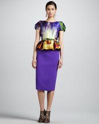 Oscar de la Renta Stretch Wool Slim Skirt Iris - Lyst
