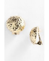 St. John Hammered Clip Earrings - Lyst