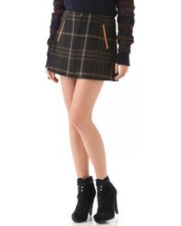 Thakoon Addition - Plaid Miniskirt with Leather Trim - Lyst