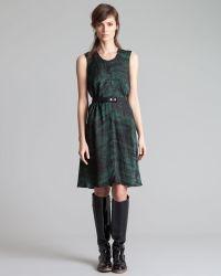 Marni Roundneck Printed Charmeuse Dress  - Lyst