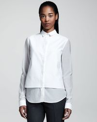 The Row Voile Combo Blouse - Lyst