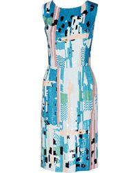 Oscar de la Renta Sequined Silk Dress - Lyst