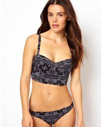 Asos Bandana Print Fuller Bust Longline Padded Bikini Top Df - Lyst