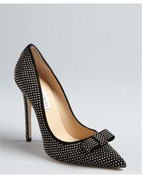 Jimmy Choo Black Suede Studded Maya Pointed Toe Pumps black - Lyst