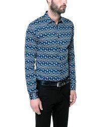 Zara Printed Shirt blue - Lyst