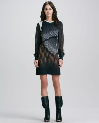 3.1 Phillip Lim Draped Mixed Print Long Sleeve Dress - Lyst