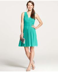 Ann Taylor Silk Georgette Pleat Tank Dress - Lyst