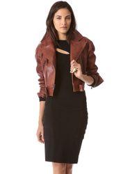 Donna Karan - Cropped Leather Biker Jacket - Lyst
