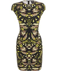 McQ by Alexander McQueen Neon Butterfly Camouflage Cap Sleeve Dress - Lyst