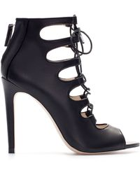 Zara Leather Ankle Boot Style Shoe - Lyst