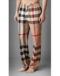 Burberry - Check Cotton Pyjama Trousers - Lyst