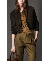 Burberry Ribbed Knit Bomber Jacket - Lyst