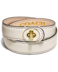 Coach Double Wrap Enamel Turnlock Bracelet - Lyst
