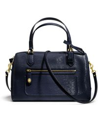 Coach Poppy Eastwest Satchel in Textured Patent Leather - Lyst