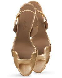 Hermès Night 70 Slingback Heels gold - Lyst
