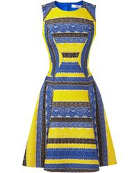 Prabal Gurung Embroidered Lace Colorblock Dress yellow - Lyst