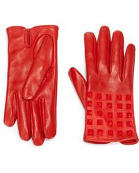 Valentino All Over Studs Leather Gloves - Lyst