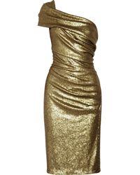 Donna Karan New York Sequined Stretch-tulle One-shoulder Dress gold - Lyst