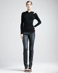 Donna Karan New York Jerseystripe Leather Pants - Lyst