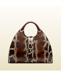 Gucci Stirrup Python Top Handle Bag - Lyst