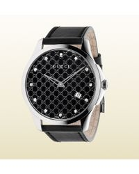 Gucci G-timeless Stainless Steel And Leather Watch With Diamonds - Lyst