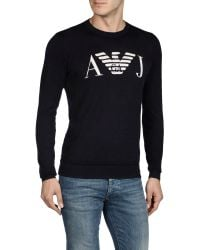 Armani Jeans Lightweight Laminated Cotton Sweater with Logo - Lyst