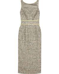 Badgley Mischka Satintrimmed Metallic Tweed Dress - Lyst