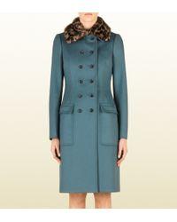 Gucci Wool Coat with Jaguar Print Mink Collar - Lyst