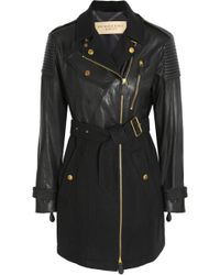Burberry Brit - Leather and Woolblend Felt Coat - Lyst