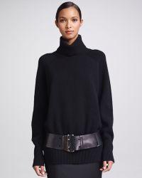 Donna Karan - Wide Doubleprong Leather Belt Black - Lyst