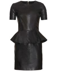 McQ by Alexander McQueen Leather Dress with Peplum - Lyst