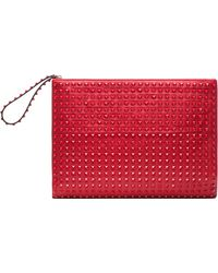 Valentino Rockstud Rouge Large Clutch in Red - Lyst