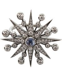 Colette - Diamond and Moonstone Starburst Ring - Lyst