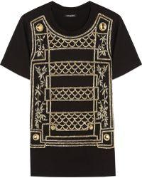 Balmain Embellished Cotton Tshirt - Lyst