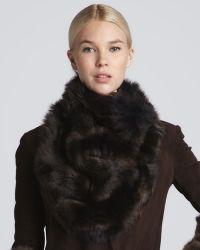 Donna Karan - Shearling Cowl Bib Collar Chestnut - Lyst