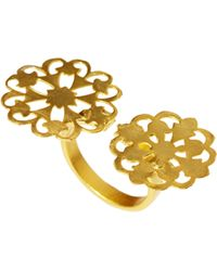 Kasturjewels 22kt Gold Plated Adjustable Hand Crafted Statement Ring - Metallic