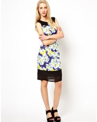 Olivia Rubin - Sleeveless Fitted Silk Dress with Contrast Detail - Lyst