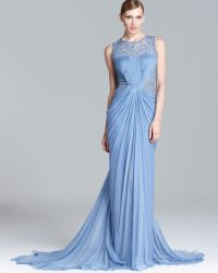 Tadashi Shoji Beaded Sequin Gown Sleeveless Lace Inset - Lyst